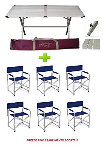 BEAVER BRAND campingtafel met draagtas, model Genius 150 x 80 cm + 6 stoelen register kleur blauw *** Aanbieding tot het ontlasten van het apparaat.