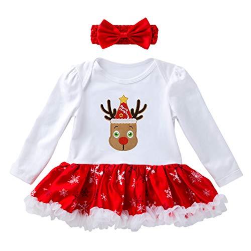 Ketamyy Śpioszki dla dziewczynki na Boże Narodzenie z nadrukiem dla noworodków, sukienka z długim rękawem + opaska na czoło i jesień, 2 szt. zestaw dla małych dzieci i dzieci, wycięcie na kopertę, dres bożonarodzeniowy