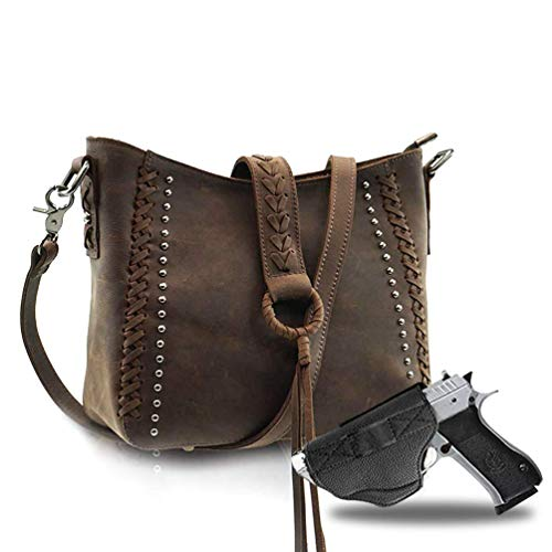Genuine Leather Concealed Carry Crossbody Purse for Women Studded Real Cowhide Shoulder Bag With Long Strap Gun Conceal MWL-G001CF