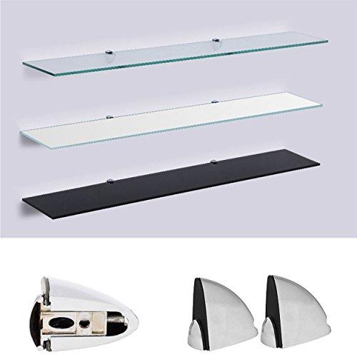 Euro Tische Glas Wandregal - Glasregal mit 6mm ESG Sicherheitsglas - perfekt geeignet als Badablage/Glasablage für Badezimmer - Verschiedene Größen (Schwarz, 50 x 17,8 cm)