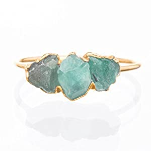 Dainty Minimalist Triple Raw Emerald Ring - Yellow Gold - May Birthstone
