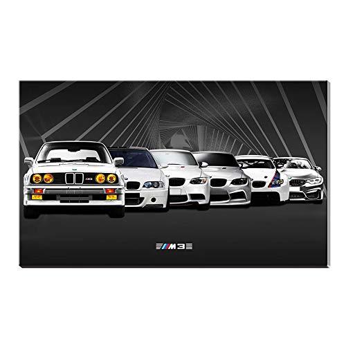 Karen Max - Lienzo clásico de pared con impresión de Giclée y pintura al óleo para BMW M3-61, diseño de coche deportivo, lona, 20x28inch Rahmenlose