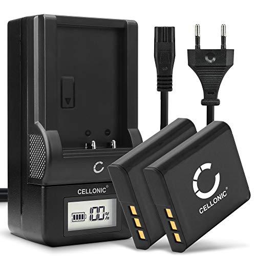 CELLONIC® 2X Batería NP-BG1 NP-FG1 Compatible con Sony DSC-H50 H3 H7 H9 H10 H20 H55 H70 H90 DSC-HX9V HX5V HX7V HX10V HX20V DSC-W55, 900mAh + Cargador rápido BC-CSGB BC-CSGC bateria de Repuesto Pila