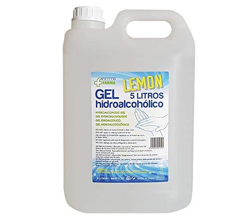 Gel hidroalcohólico aroma limón 5L. Para manos,  desinfección e hidratación garantizada