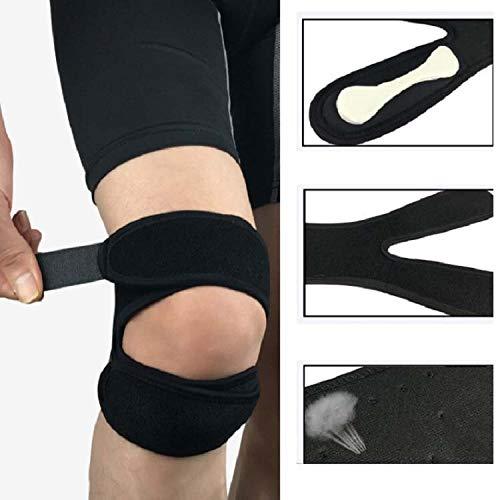Zhoutao Professionelle Patella Gürtel Sports Knieschützer Stoßdämpfung Compression Sport-Schutzausrüstung (Farbe : Black)