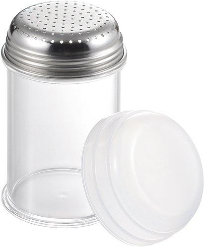 タイガークラウン パウダー缶 クリア 75×120mm スプリングボトル パンチング メタクリル樹脂 目盛付 カバー付 447