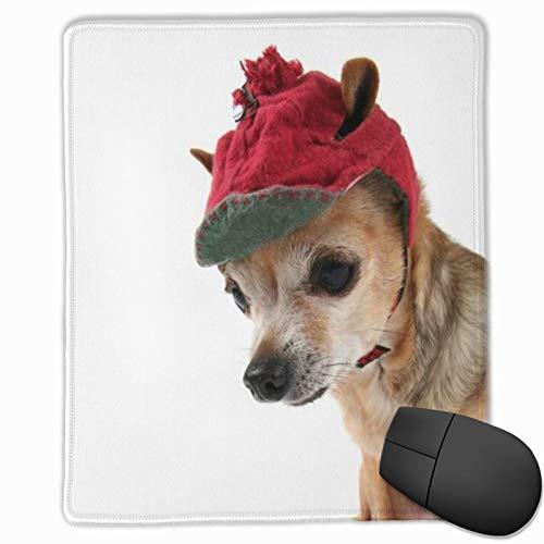 ELIENONO Alfombrilla Raton Disfraz Lindo Chihuahua Sombrero de Invierno Animales Vida Silvestre Cabeza Tiny Canine Alfombrilla Gaming Alfombrilla para computadora con Base de Goma Antideslizante