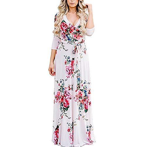 Lover-Beauty Maxikleider Damen elegant Sommer Chiffon Boho Böhmisches Langes Maxi Kleid Strand kleidet Sommerkleid weiß XXL