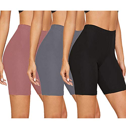 Gayhay Bike Shorts for Women - Soft Stretchy Under Dresses Pants for Athletic Workout Running Yoga (Black/Rosy Brown/Dark Grey, Small-Medium)