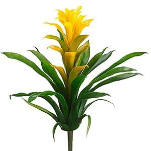 "Silk Flower Arrangements 14"" Silk Bromeliad Plant Flower Bush -Yellow/Green (Pack of 12)"