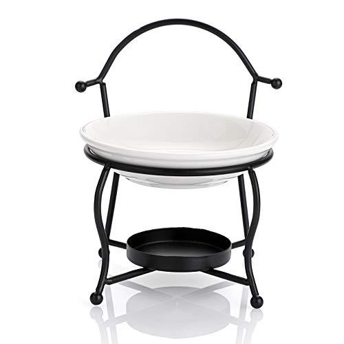 SUMTREE - Quemador de aceite esencial aromático con gran cuenco vela quemador de metal + cerámica (silla, negro)