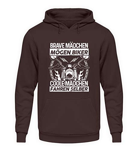 shirt-o-magic Motorradfahrerin: Coole Mädchen Fahren Motorrad - Unisex Kapuzenpullover Hoodie -L-Schokolade