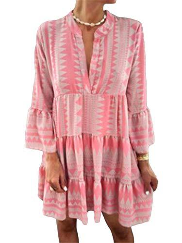 ORANDESIGNE Damen Kleider Strand Elegant Casual A-Linie Kleid Langarm Sommerkleider Boho V-Ausschnitt Quaste Tunika Mini Vintage Kleider A Hellrosa L