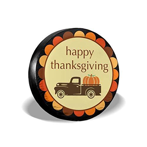 Ahdyr Happy Thanksgiving Pumpkin Truck Cubierta de llanta de refacción Impermeable a Prueba de Polvo Cubierta de llanta de Repuesto Universal para Muchos vehículos 14 '15' 16 '17'