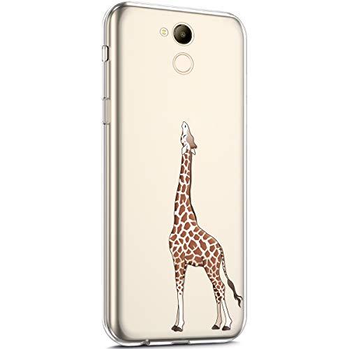 kompatibel mit Huawei Honor 6C Pro Hülle,Transparent TPU Silikon Handyhülle Schutzhülle mit Niedlich Muster Ultra Dünn Silikon TPU Bumper Rückschale Case Cover für Huawei Honor 6C Pro,Giraffe