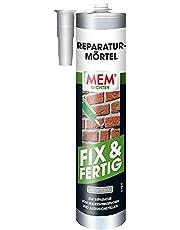 MEM Reparatie-mortel, Fix & klaar, voor metselwerk voegen en uitbraakplaatsen, voor binnen en buiten, gebruiksklaar, overschilderbaar, cementgrijs, 300 ml