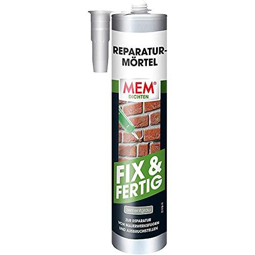 MEM Reparatur-Mörtel Fix & Fertig, Für Mauerwerksfugen und Ausbruchstellen, Für innen und außen, Gebrauchsfertig, Überstreichbar, Zementgrau, 300 ml