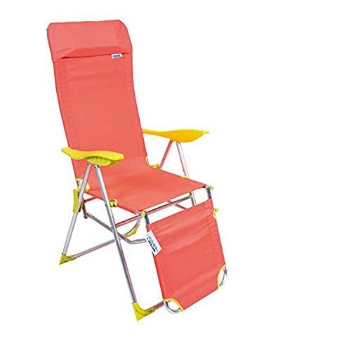 Sedia Sdraio Relax in Alluminio Pieghevole Reclinabile 5 Posizioni con Poggiapiedi e Poggiatesta, Tessuto Oxford Colore Arancio, Enrico Coveri Mare Collection
