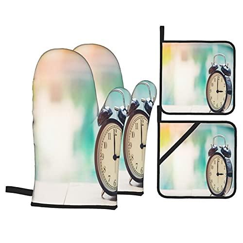 Juegos de Manoplas y Porta ollas para Horno,Oclock Retro Reloj Piscina Guantes de Cocina Resistentes al Calor para Hornear en la Cocina, Parrilla, Barbacoa,BBQ