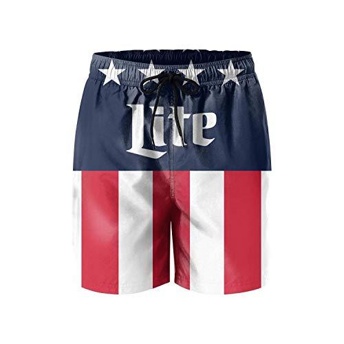 FUEWJFDIW Men Waterproof Swim Trunks Quick Dry Miller-Lite-Drink-Beer-Alcohol- Beach Shorts Beach Wear with Pockets