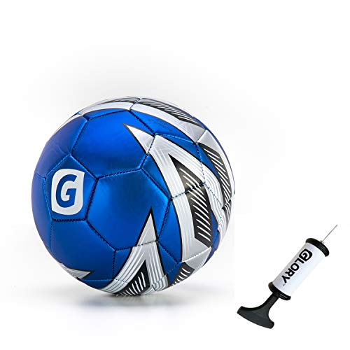 GLORY Pallone da Calcio Ufficiale da Allenamento e Match Taglia 5 Palloni da Futsal PVC Sport Indoor e Outdoor per Adulti Bambini Blu