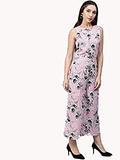 Glampunch Women's Pink Floral Sleeveless Crepe Jumpsuit