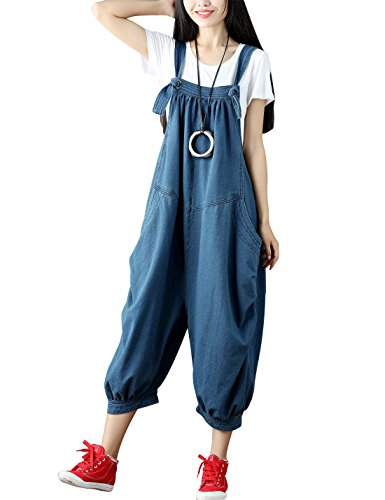 Yeokou Women's Loose Baggy Denim Wide Leg Jumpsuit Rompers Overalls Harem Pants (One Size US S-L, Style 89 Blue)