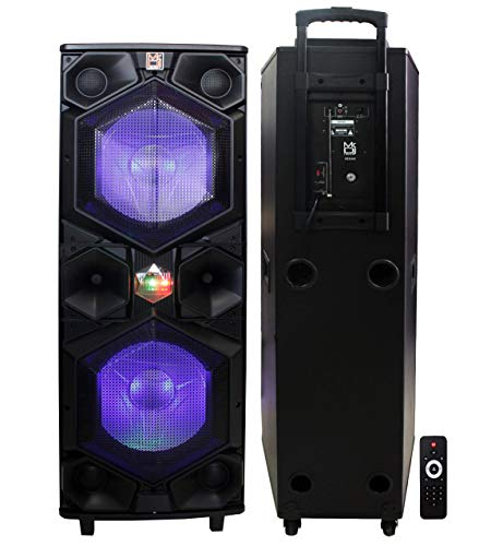 "Mr. Dj Vegas 3-Way Dual 15"" Portable Active Full Range Speaker, 6500 Watts P.M.P.O, Built-in Bluetooth Technology, LED Accent Lights USB/SD Card Reader, FM Radio"