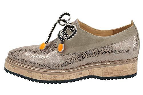 xyxyx Echtleder-Schnürschuhe extravagante Damen Schuhe mit Sohle Halbschuhe Herbst im Kork-Optik Beige, Größenauswahl:38