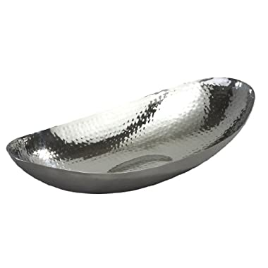 Elegance Hammered 13-1/2 by 7 by 3-Inch Stainless Steel Oval Fruit Bowl, Model 72652