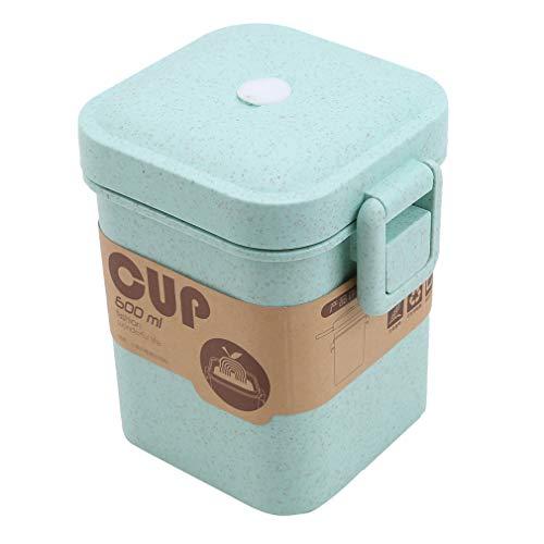 SUNSKYOO Pot à Soupe, Boucle de Paille de blé, boîte à bento, boîte à Lunch sécuritaire pour Four à Micro-Ondes, conteneur de Conservation des Aliments, Vert
