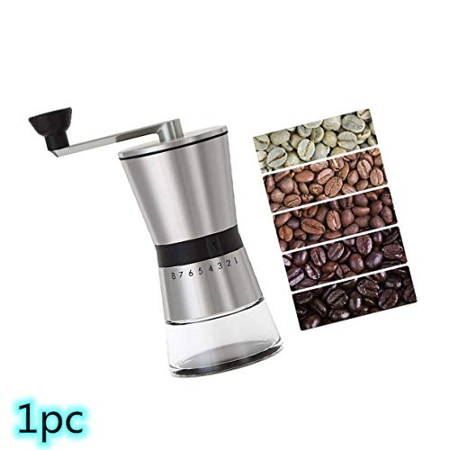 Hand Coffee Grinder, CASIZ Because Hand Ground Coffee Beans Taste Best, Infinitely Adjustable Grind, Glass Jar, Stainless Steel for Aeropress, Drip Coffee, Espresso, French Press, Turkish Brew