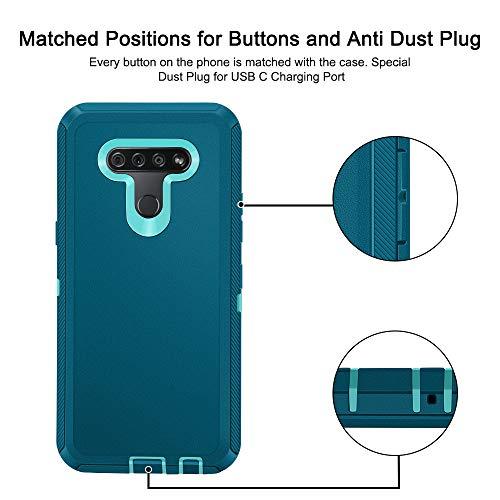 Jiunai Schutzhülle für LG K51, 3-in-1-Schutz, für den Außenbereich, robust, stoßfest, stoßfest, stoßfest, stoßfest, kratzfest, Hybrid-Hybrid-Dual-Layer-Hülle, nur für LG K51, Blau / Grün