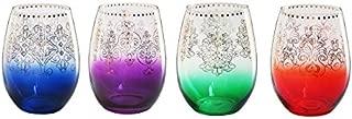 Tracy Porter Monogram Stemless Wine Glasses (Set of 4), Multicolor