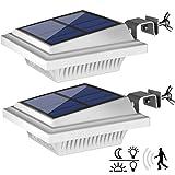 Lot de 2 lampes solaires pour gouttière avec détecteur de mouvement - 40 LED de qualité supérieure - Éclairage de jardin blanc chaud - 3 W - Lampe murale de sécurité PIR pour jardin