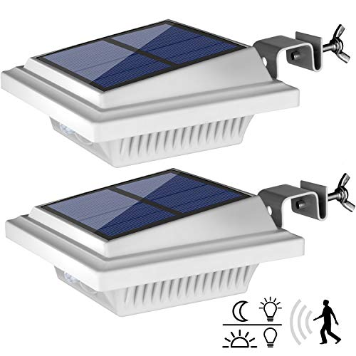 Dachrinne Solarleuchte mit Bewegungsmelder,【Hohe Qualität 40LED】Solarlampen für Außen, Weiße Gartenbeleuchtung Warmweißes Solarlicht, 3W PIR Sicherheitswandleuchte Außenlampe für Garten-2 Stücke