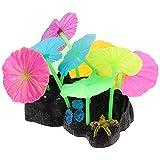 Toyvian Pecera Plantas de Plástico Acuario Lotus Brillante Decoraciones Silicona Artificial Resplandor en La Oscuridad Coral Ornamentos para Agua Dulce Agua Salada Fluorescente Paisaje