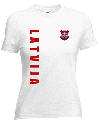 Lettland Latvija EM-2020 Damen T-Shirt Wunschname Nummer Weiß S