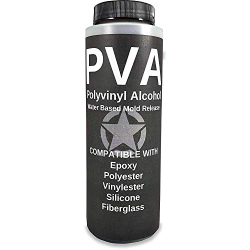 PVA Water Based Mold Release - Polyvinyl Alcohol Agent for Epoxy, Polyester, Vinyl Ester, Resin, Gel Coat, Polyurethane Foam, Silicone - Spray or Brush-On Film for Sculpture and DIY Projects - 8oz