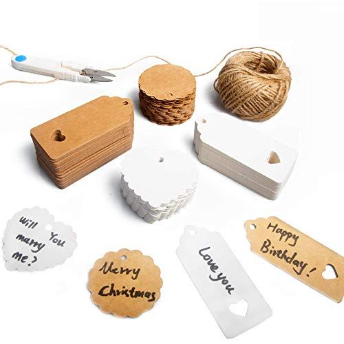 JIPRENS 200 piezas Etiquetas regalo etiquetas Papel Kraft cuerda de cáñamo de 30m etiquetas colgantes para, utilizadas para bodas ,cumpleaños y Navidad etiquetas de precios,Con tijeras