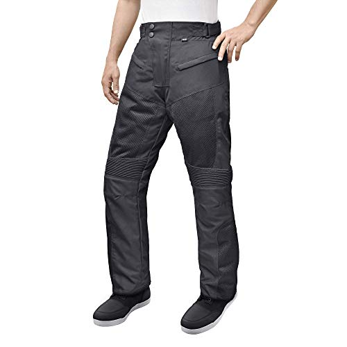 Motorcycle Sport Mesh Riding Pants Black with Removable CE Armor PT3 (XL)