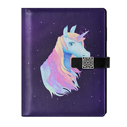 Cuaderno de cuero para diario de viaje, dibujado a mano, diseño de unicornio rellenable A5, encuadernador de anillas de tapa dura, regalo para hombres y mujeres