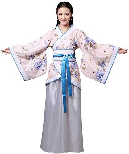OKZH Hanfu Mujer Antiguo Chino Hanfu Weijin Hanfu Traje De Actuacin Retro Disfraz Juego Cosplay Vestido Blanco De Orqudea Xl