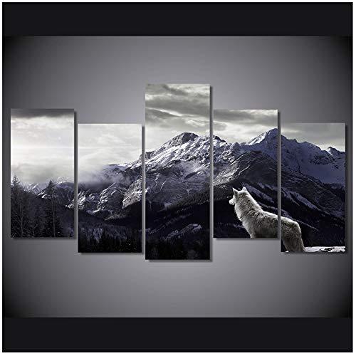 Quadro su tela Soggiorno Decorazioni per la casa Immagini 5 Pezzi Neve Altopiano Montagna Lupo Dipinti Animali Poster-40x80cmx4 40x100cm Senza cornice