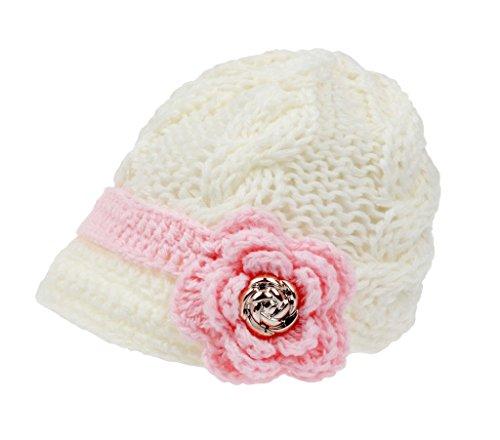 Sombrero con visera Bestknit para niña bebé, hecho a mano, de punto de cruz Blanco blanco S