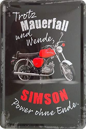 vielesguenstig-2013 Blechschild Schild 20x30cm - trotz Mauerfall und Wende Simson Power ohne Ende S51 Enduro Moped