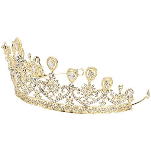 VALICLUD Strass Kristall Krone Brautkrone Hochzeit Tiara Haarschmuck für Hochzeitswettbewerb Geburtstag Abschlussball (Golden)