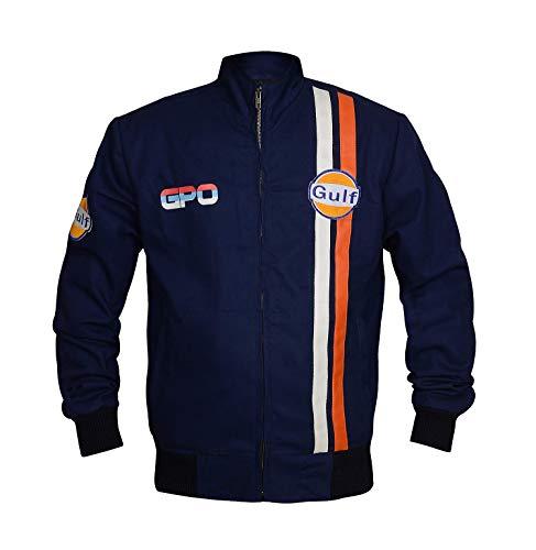 e Genius Gulf Le Mans Grandprix Giacca in cotone blu navy Blu Medium-petto 102/107 cm