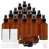 Belle Vous Bote Spray Pulverizador Cristal Ámbar (Pack de 16) 120 ml Botella con Rociador, Etiquetas y Cuentagotas – Frascos Vacíos Rellenables Aceites Esenciales, Limpieza, Aromaterapia, Perfume