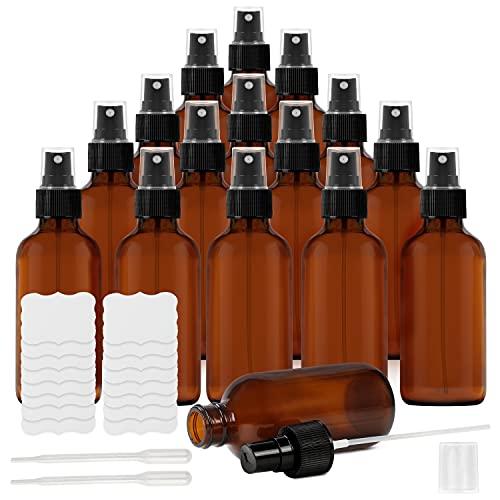 Belle Vous Bote Spray Pulverizador Cristal Ámbar (Pack de 16) 120 ml Botella con Rociador, Etiquetas y Cuentagotas – Frascos Vacíos Rellenables Aceites Esenciales, Limpieza, Aromaterapia, Perf